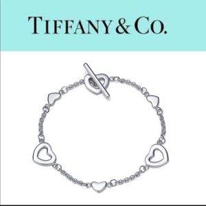 Tiffany &Co 925 Hearts Bracelet w/ Toggle Closure